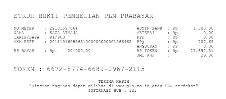 Contoh Cetak Struk Token PLN Java Pulsa